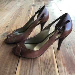 Nine West 'Brightgirlo' Cognac Peep Toe Heels